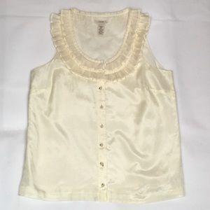 J Crew 100% Silk Button Up sleeveless Blouse